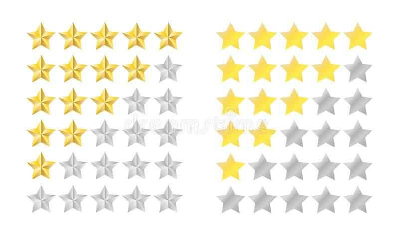 Gwiazdowy ocena set ilustracja wektor