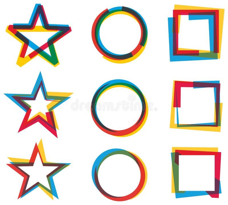 Gwiazdowy okręgu kwadrata loga set ilustracja wektor
