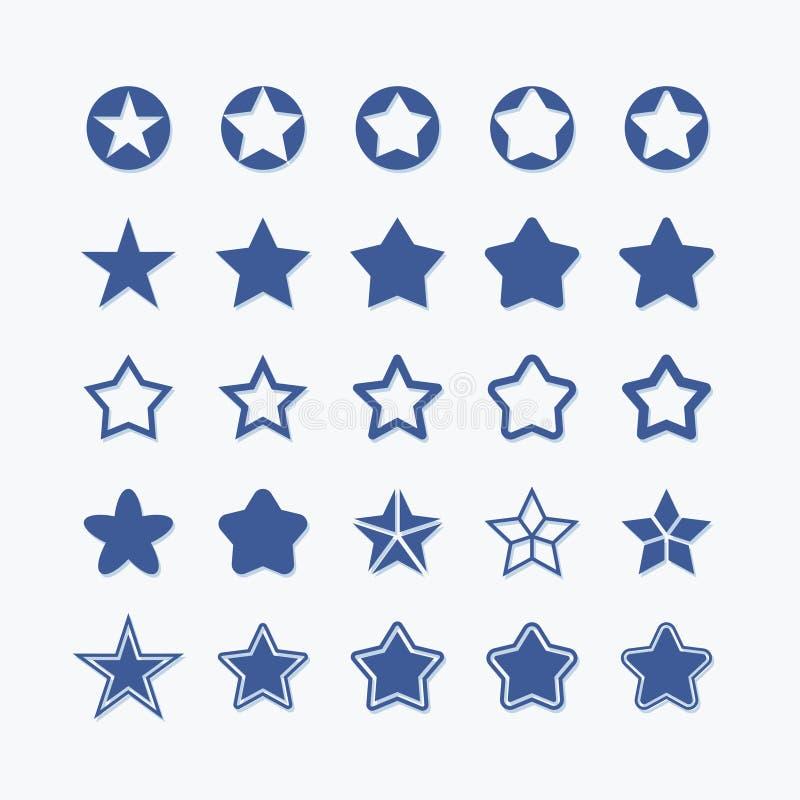 Gwiazdowy płaski wektorowej grafiki ikony set Ratingowy ilość piktogram ilustracja wektor