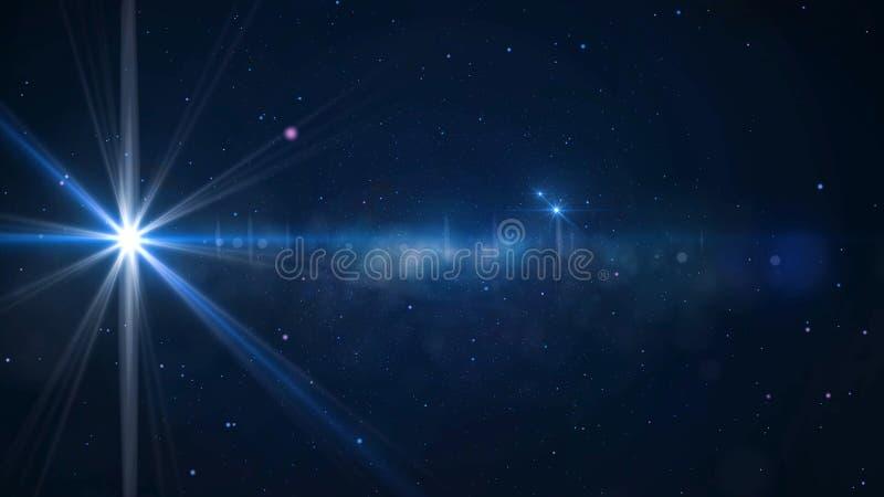 Gwiazdowy pole - animowany ruchu tło gwiazdowy pole i obiektyw migocze Animacja jaskrawa gwiazda zdjęcia royalty free