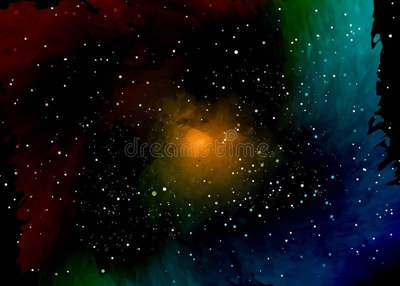 Gwiazdowy pole w przestrzeni i mgławicy Abstrakcjonistyczny tło wszechświat i benzynowy przekrwienie Ślimakowatego galaxy przestr royalty ilustracja