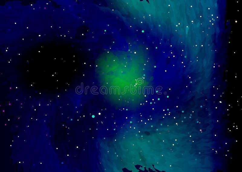 Gwiazdowy pole w przestrzeni i mgławicy Abstrakcjonistyczny tło wszechświat i benzynowy przekrwienie Ślimakowatego galaxy przestr ilustracja wektor