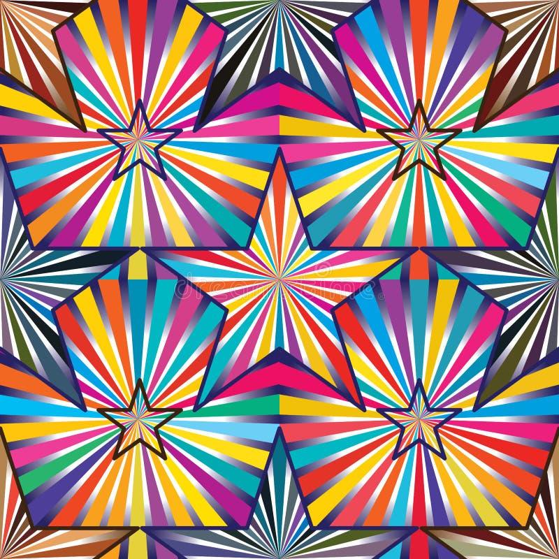 Gwiazdowy promień wśrodku jaskrawy kolorowy bezszwowego royalty ilustracja