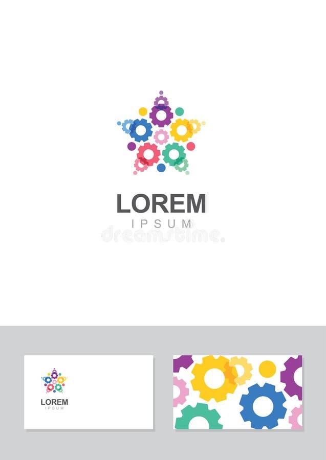 Gwiazdowy przekładni ikony projekta element z wizytówka szablonem ilustracji