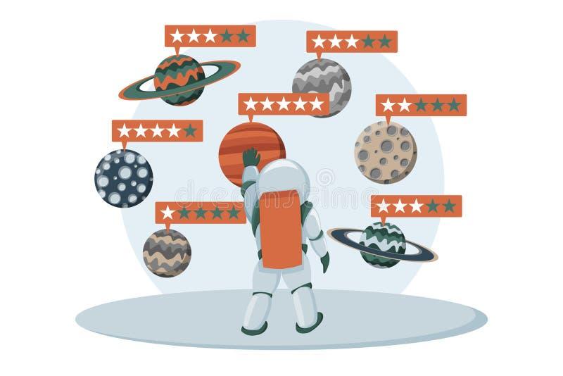 Gwiazdowy ratingowy wektorowy ilustracyjny płaski projekt Informacje zwrotne pojęcie Szacunkowy system ilustracja wektor