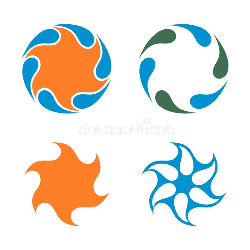 Gwiazdowy woda przepływu natury cyklu ikony szablon ilustracja wektor