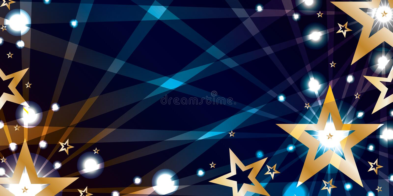 Gwiazdowy złocisty błękitny noc sztandar ilustracji