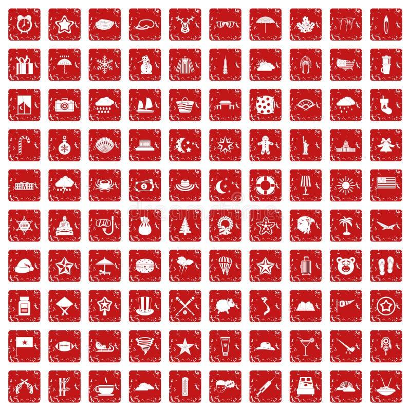 100 gwiazdowych ikon ustawiają grunge czerwień ilustracji