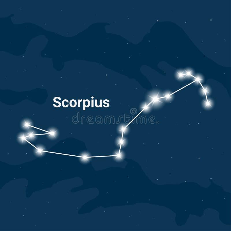 Gwiazdozbiór Scorpius lub skorpion - wektor royalty ilustracja