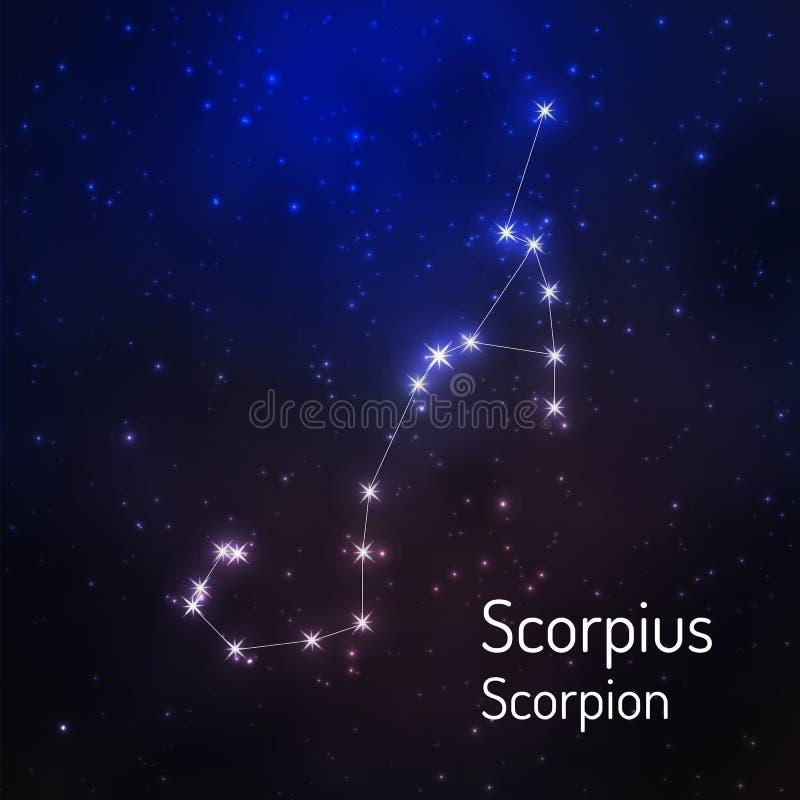 Gwiazdozbiór w nocy gwiaździstym niebie ilustracji