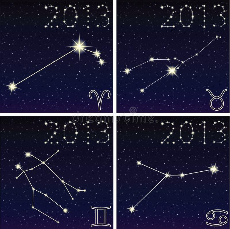 Gwiazdozbioru Aries, Taurus, gemini, nowotwór ilustracji
