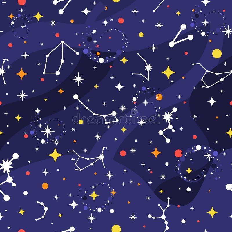 Gwiazdozbioru bezszwowy wzór Astronautyczny tło Galaktyka druk Astronautyczny wzór z gwiazdami, milky sposób, gwiazdozbiory ilustracja wektor