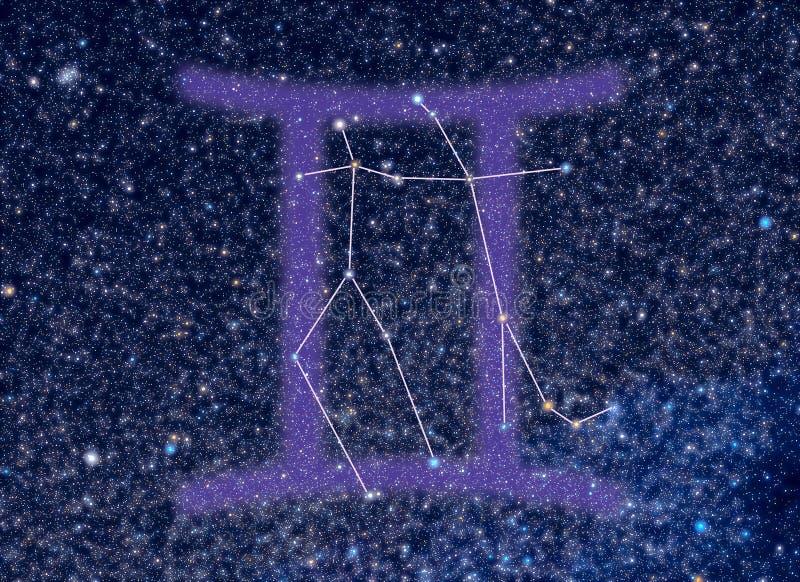 gwiazdozbioru gemini zodiak royalty ilustracja