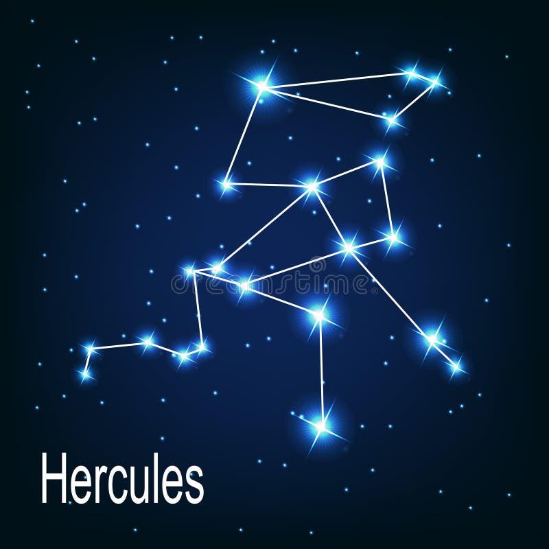 Gwiazdozbioru Hercules gwiazda w nocy royalty ilustracja