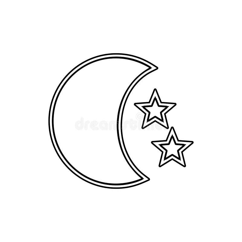 Gwiazdy i księżyc ikona Element przestrzeń dla mobilnego pojęcia i sieci apps ikony Cienka kreskowa ikona dla strona internetowa  ilustracji