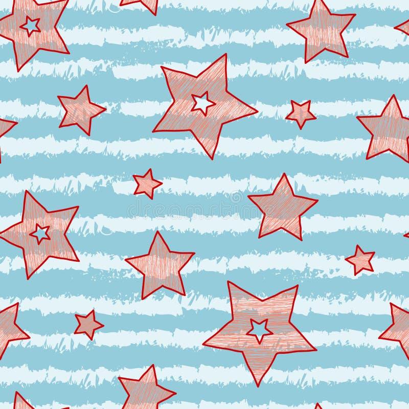 Gwiazdy i lampas bezszwowa tekstura dla owinięcie papieru, tło i kolorów, tkaniny, cukierku i morza, ilustracja wektor