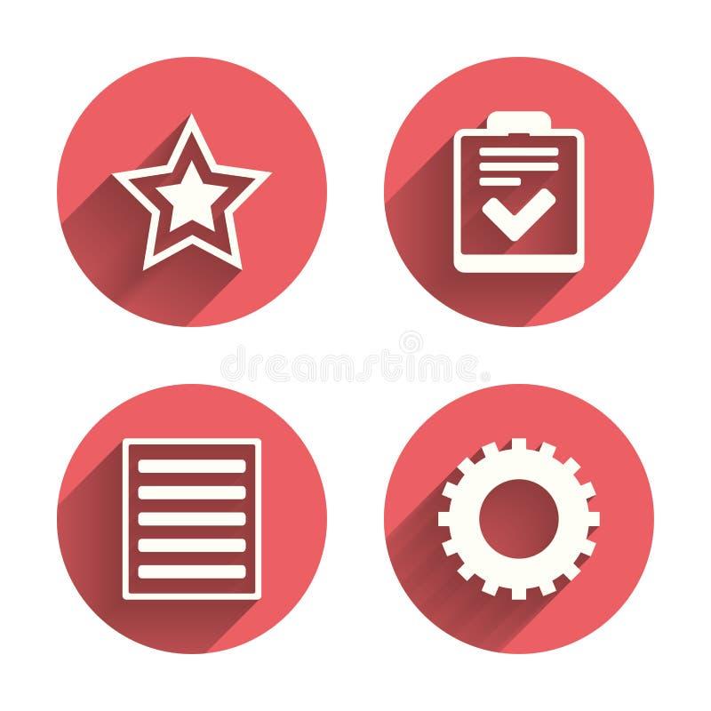Gwiazdy i menu listy znaki Lista kontrolna, przekładnia royalty ilustracja