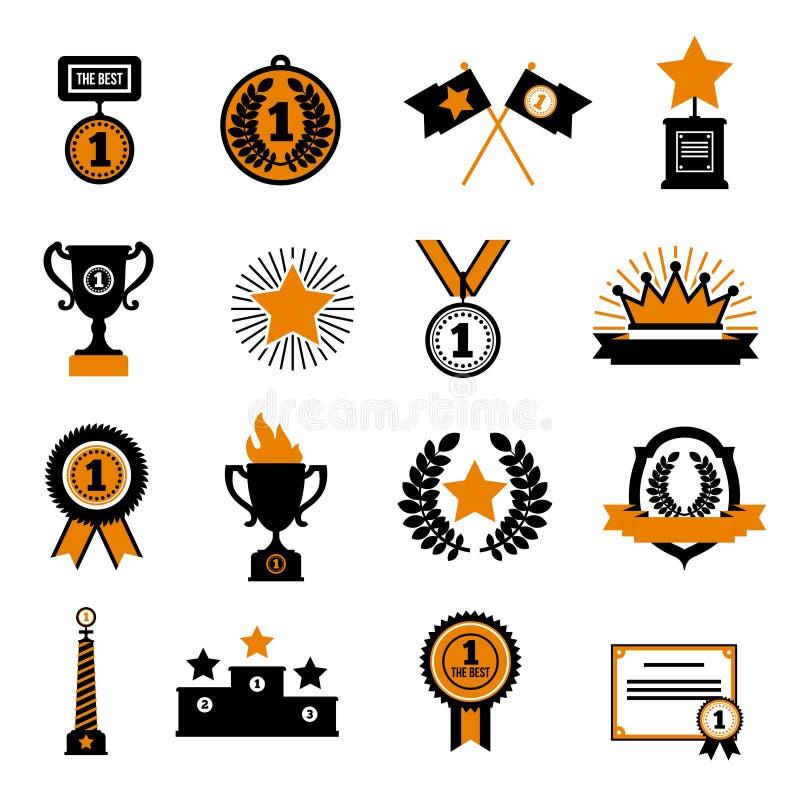 Gwiazdy I nagród Dekoracyjne ikony Ustawiać royalty ilustracja