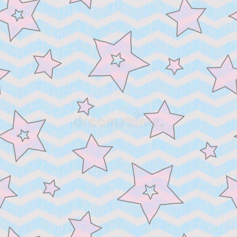 Gwiazdy i zigzad bezszwowa tekstura dla papieru, backgrouns i tkaniny owinięcia, ilustracji