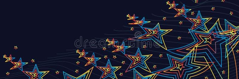 Gwiazdy pięć koloru linia zaczyna up sztandar ilustracji