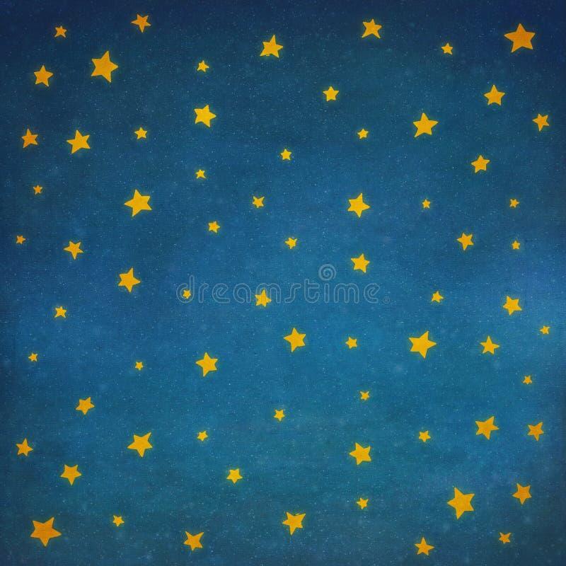Gwiazdy przy nocnym niebem, tło ilustracji