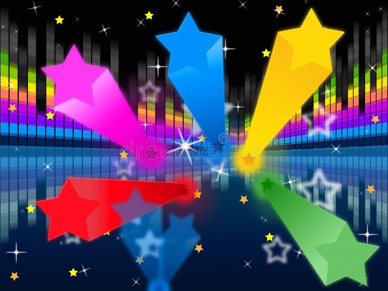 Gwiazdy Soundwaves tło Pokazuje Kolorowego I Muzycznego royalty ilustracja