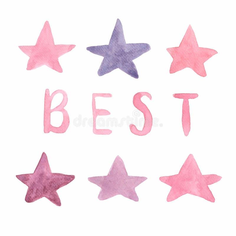 Gwiazdy w menchiach, fiołku, Burgundy, czerwonych kolorach i list Najlepszy ręka rysującej akwareli, projektują elementy Akwarela ilustracja wektor