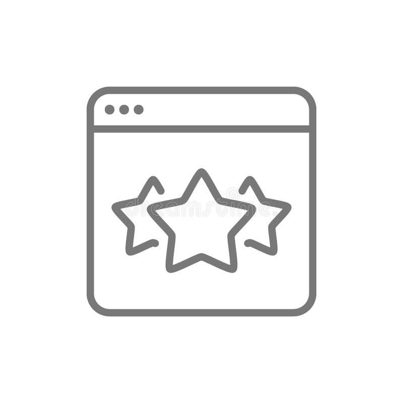 Gwiazdy w wyszukiwarce, najlepszy wyborowa strona internetowa, informacje zwrotne kreskowa ikona ilustracji