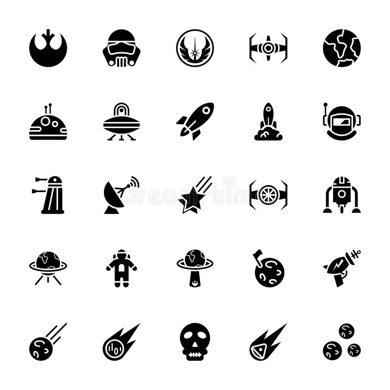 Gwiezdna wojna glifu ikony paczka royalty ilustracja