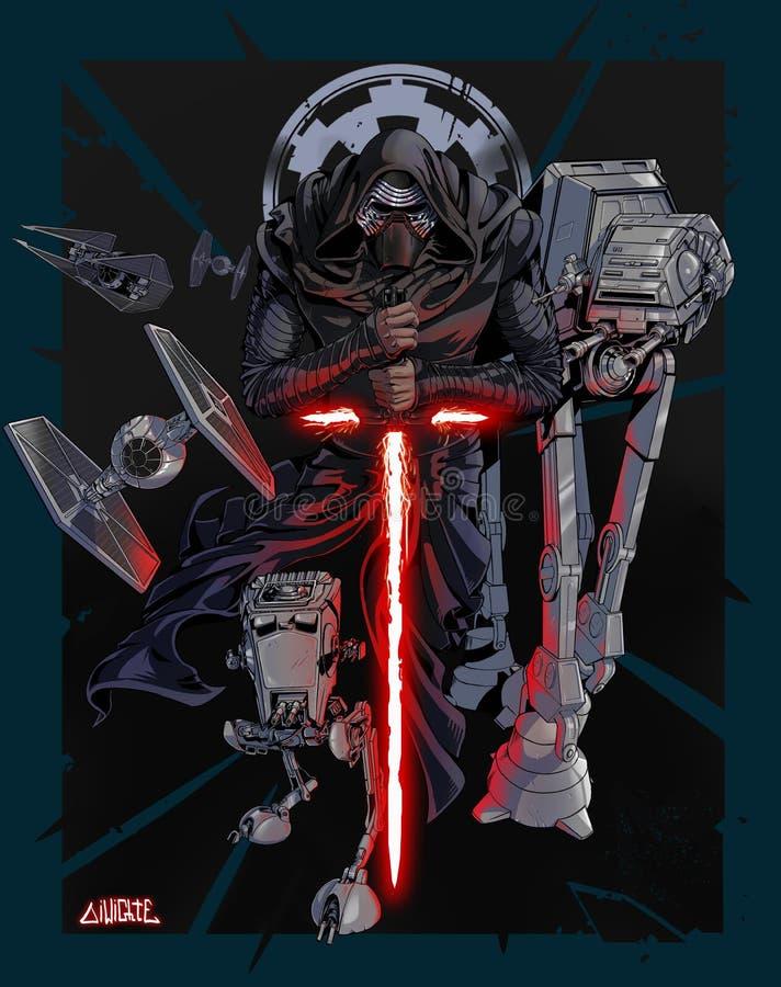 Gwiezdnej wojny Kylo Ren Galaktyczny imperium royalty ilustracja