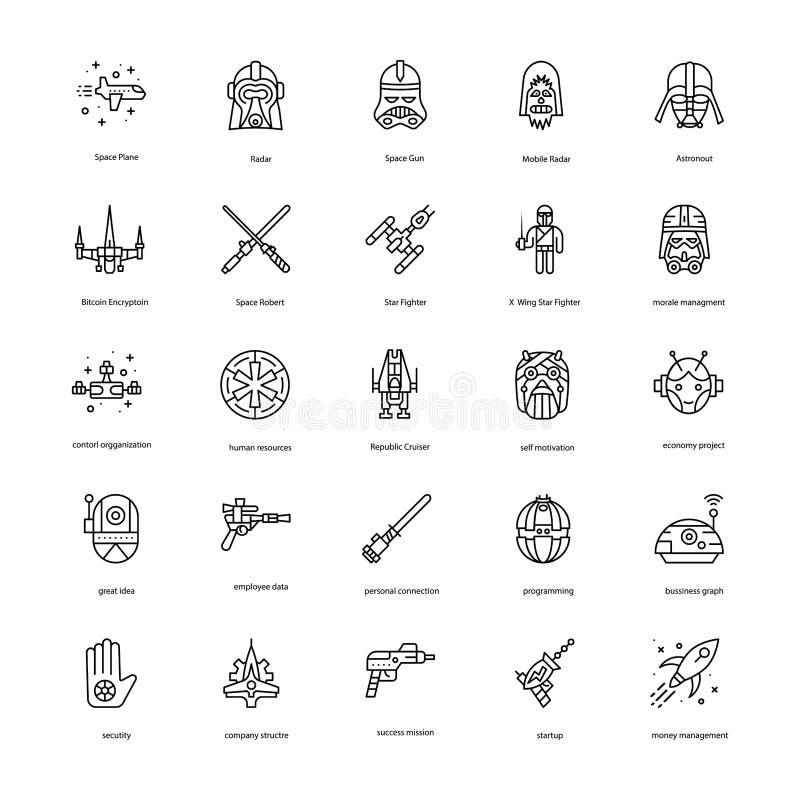 Gwiezdnych Wojn Kreskowe ikony Ustawiać ilustracja wektor