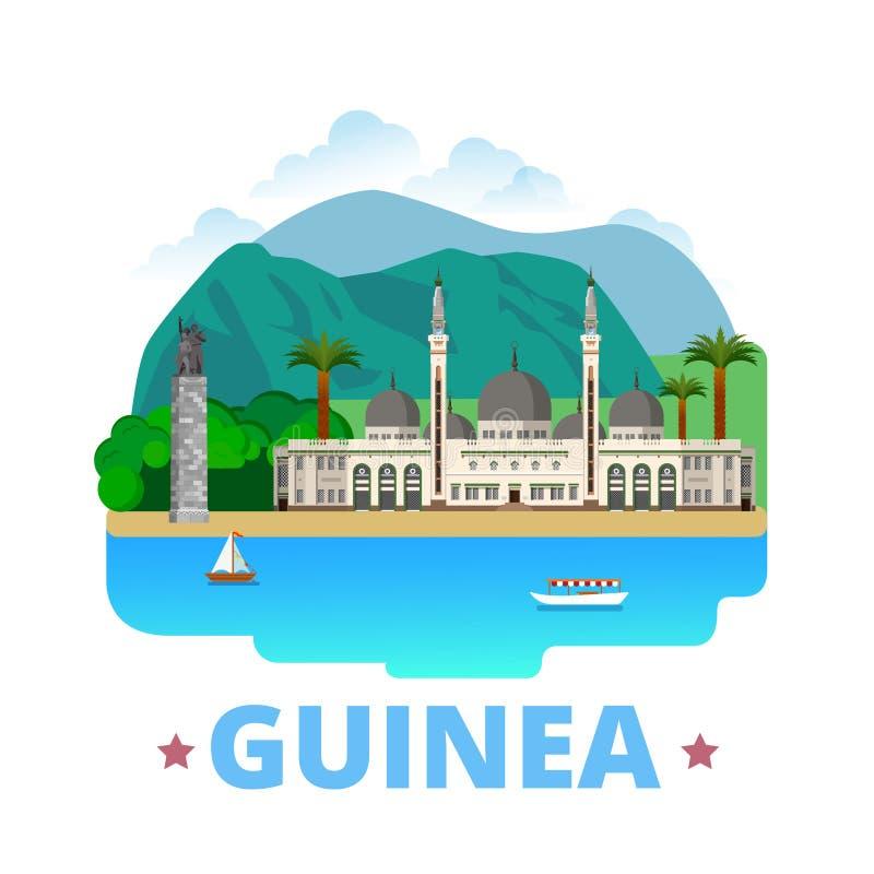 Gwinea kraju projekta szablonu kreskówki Płaski styl ilustracji