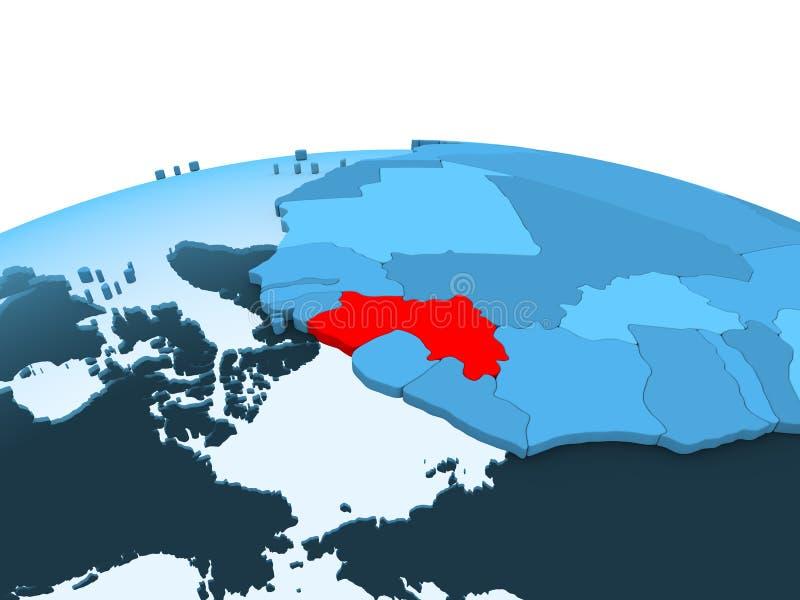 Gwinea na błękitnej politycznej kuli ziemskiej royalty ilustracja