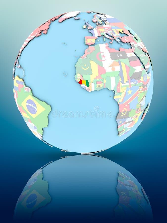 Gwinea na politycznej kuli ziemskiej z flaga ilustracja wektor