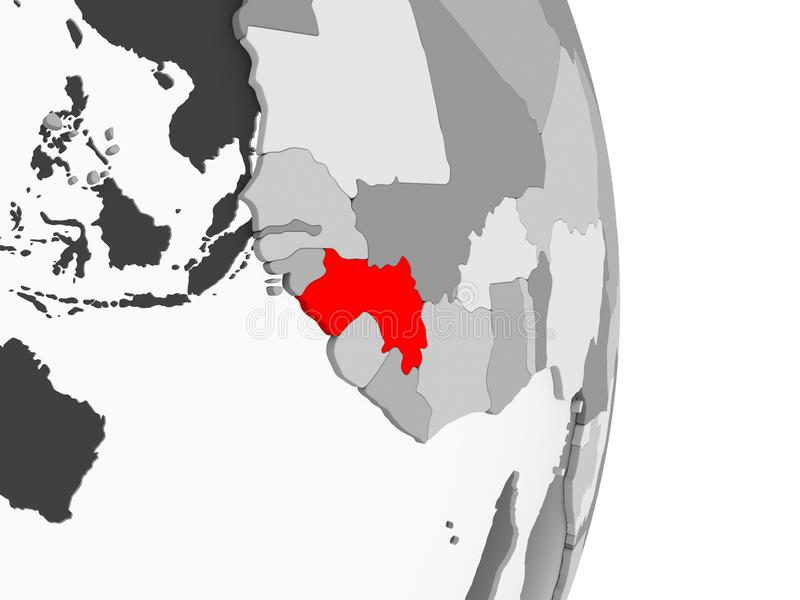 Gwinea na popielatej politycznej kuli ziemskiej ilustracji