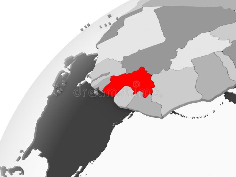 Gwinea na popielatej politycznej kuli ziemskiej ilustracja wektor