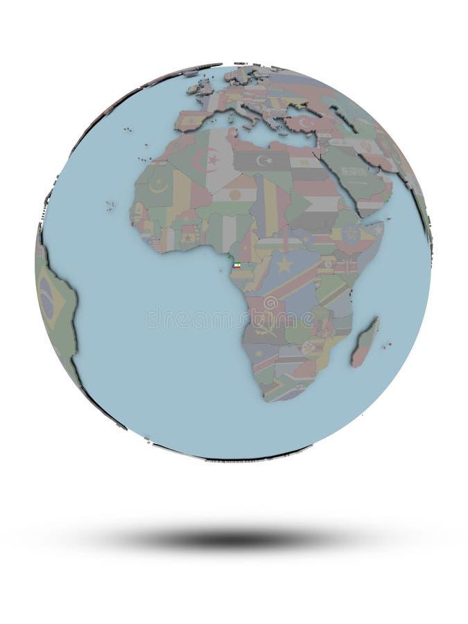 Gwinea Równikowa na politycznej kuli ziemskiej odizolowywającej royalty ilustracja