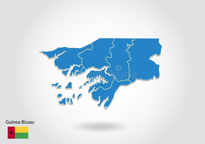Gwinei Bissau mapy projekt z 3D stylem Błękitna gwinei Bissau flaga państowowa i mapa Prosta wektorowa mapa z konturem, kształt,  ilustracji