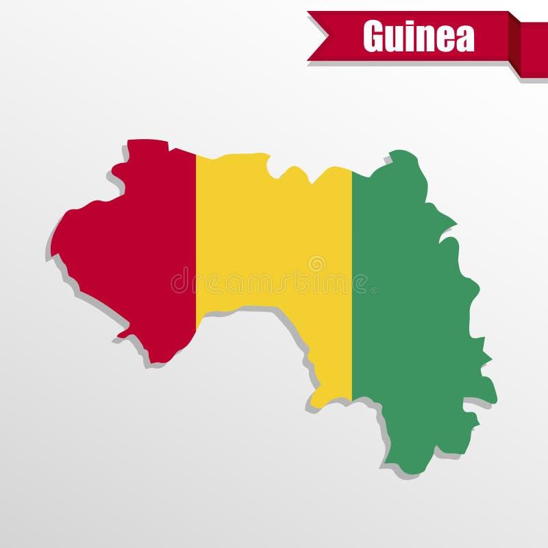 Gwinei mapa z flaga faborkiem i inside ilustracja wektor