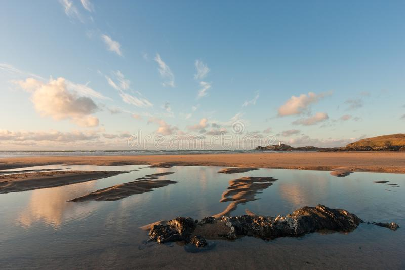 Gwithian beach with blue sky - Cornwall stock photography