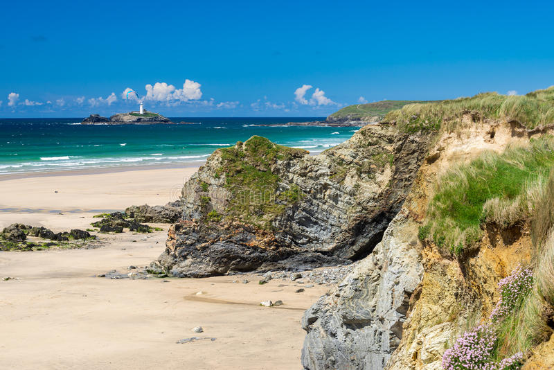 Gwithian Cornwall England UK. The beautiful golden sandy beach at Gwithian with Godrevy in the distance Cornwall England UK Europe stock images
