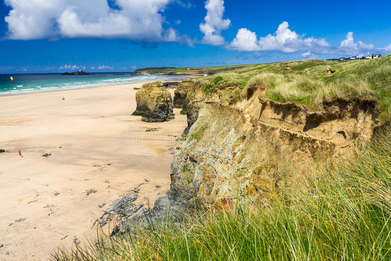 Gwithian Cornwall England UK. The beautiful golden sandy beach at Gwithian with Godrevy in the distance Cornwall England UK Europe royalty free stock image