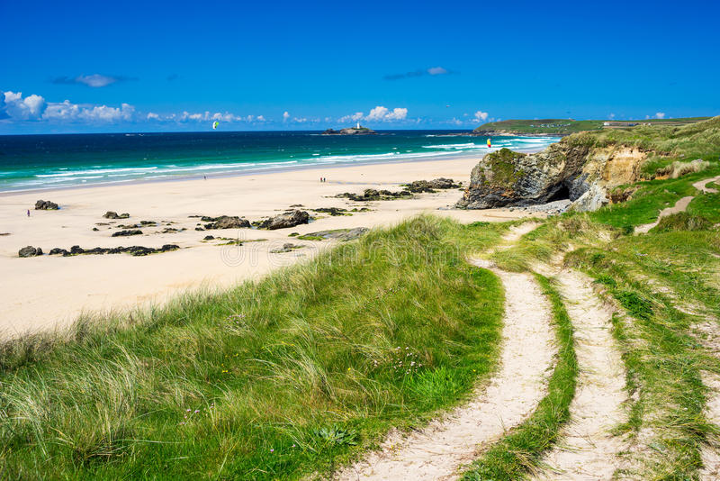 Gwithian Cornwall England UK. The beautiful golden sandy beach at Gwithian with Godrevy in the distance Cornwall England UK Europe royalty free stock photo