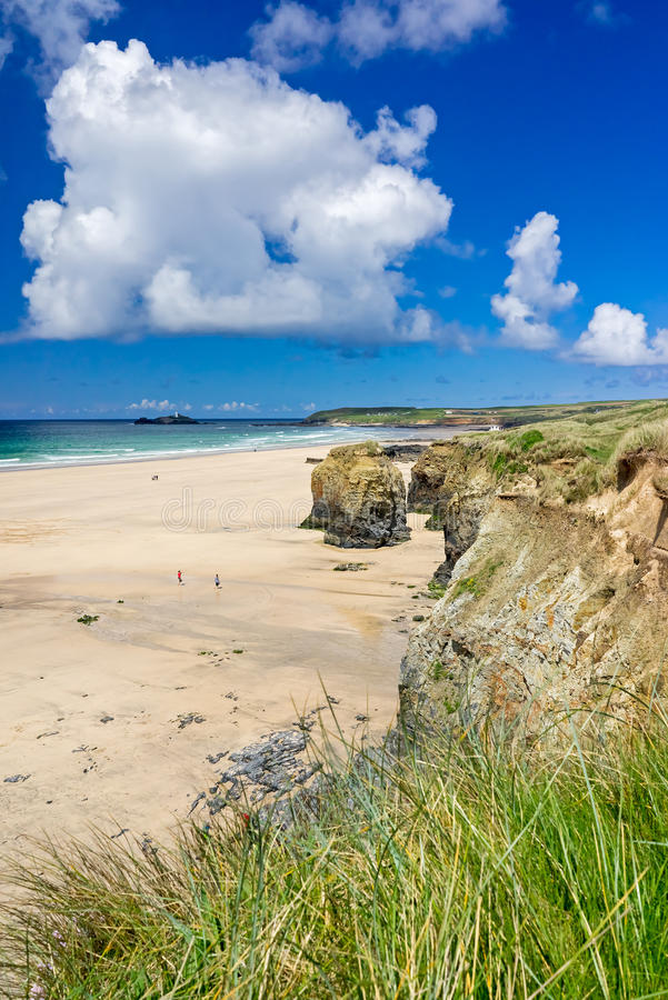 Gwithian Cornwall England UK. The beautiful golden sandy beach at Gwithian with Godrevy in the distance Cornwall England UK Europe royalty free stock photography