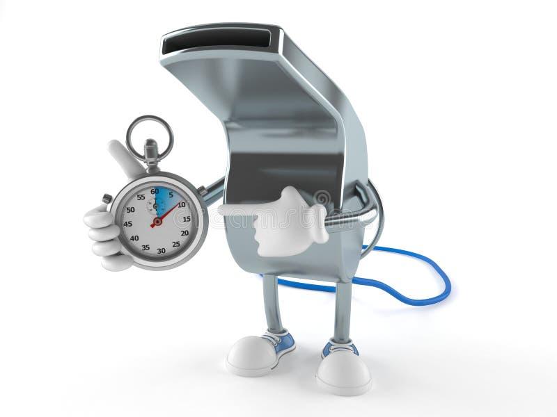 Gwizd charakter z stopwatch ilustracja wektor