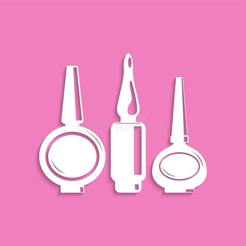 Gwoździ połysk kosmetyczne rzeczy przygotowywa ikonę Biały wizerunek na różowym tle z cieniem ilustracja wektor