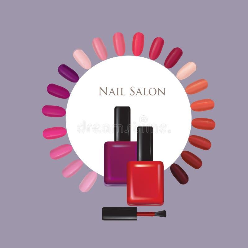 Gwoździa piękna salonu tło Manicure'u gwóźdź polerujący znak ilustracja wektor