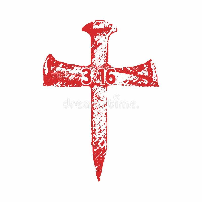 Gwoździe krucyfiks w postaci krzyża ilustracji