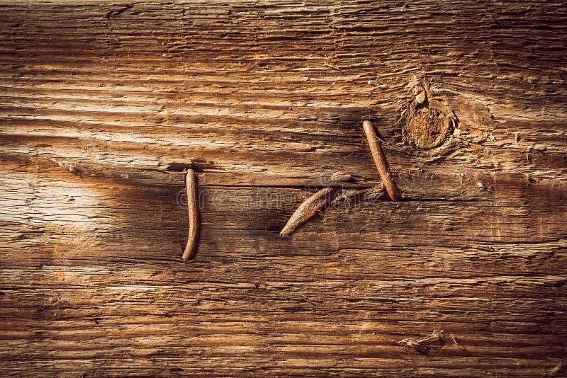 Gwoździe przebijali drewnianą deskę obraz royalty free