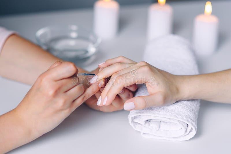 Gwo?dzia manicure I opieka Zbli?enie kobiety zdrowi naturalni gwo?dzie w pi?kno salonie Manicurzysta r?ka maluje klient?w gwo?dzi obrazy royalty free